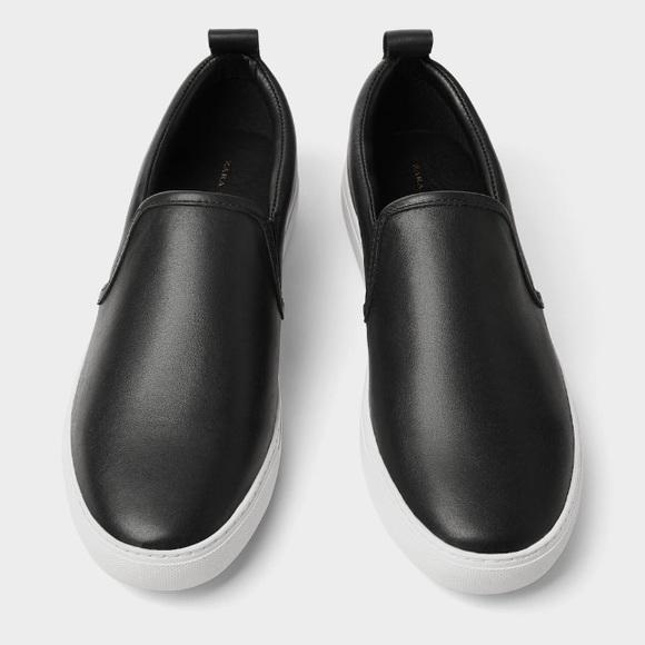 Zara Shoes | Zara Men Black Leather